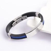 Pulsera caucho negro y cordon azul (personalizable) Grosor 3 mm