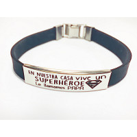 Pulsera personalizada acero y caucho casa-superheroe (pulac20neg