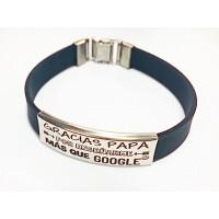 Pulsera personalizada acero y caucho papa-google (pulac20neg
