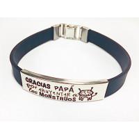 Pulsera personalizada acero y caucho papa-monstruos (pulac20neg