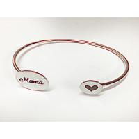 Pulsera personalizada laton baño plata MAMA y corazon (plz034)