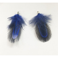 Pluma con capuchon plateado azul marino 40 mm