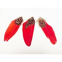 Pluma doble con capuchon color rojo 70 mm
