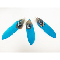 Pluma doble con capuchon color turquesa 70 mm
