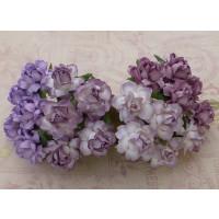 Rosas Cottage papel mulberry 25 mm -Tonos lilas (20 uds)