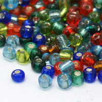 Rocalla cristal 6/0 , 4 mm mix colores metalizados (20 gramos)