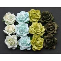 Rosas Trellis de papel mulberry 35 mm -Tonos verdes (20 uds)