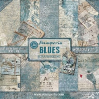 Papel scrapbooking Stamperia 30x30 cm-  Blues - Set 10