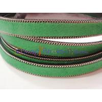 Tira de ante verde 13 mm con cadena ( 20 cm)