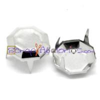 Tachuela octogonal plateada 12  mm ( 10 uds)
