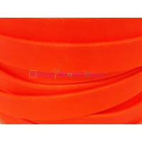 Cuero plano de 10 mm.Naranja Flúor. (20 cm)