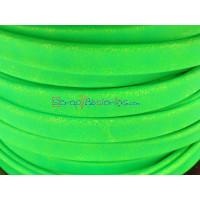 Cuero plano  6 mm. Verde Flúor. (20 cm)