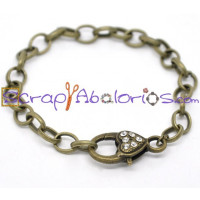 Pulsera bronce  Charms con mosqueton strass