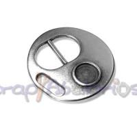 Cierre Zamak baño plata moneda con hueco strass 30 mm, int 10 mm