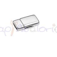Cierre ZAMAK baño plata iman redondeado 23.3x12.7 mm, int  10x2 mm
