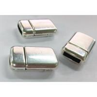 Cierre ZAMAK baño plata iman redondeado 23x15 mm, int 10x3 mm
