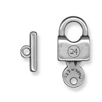 Cierre ZAMAK  plata aro y barrita 35x16- 20x9 mm -Candado letras