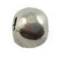 Lote 10 uds bola ZAMAK baño plata  irregular 5x6 mm, Taladro 2  mm