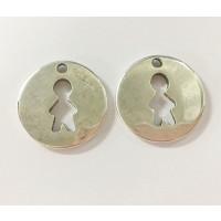 Colgante ZAMAK  baño plata moneda silueta niño 20 mm
