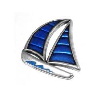 Colgante ZAMAK baño de plata velero azul marinero 35x32  mm