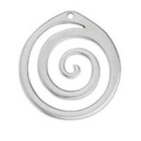 Colgante Zamak baño plata aro espiral 57 x53 mm