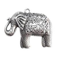 Colgante ZAMAK baño plata elefante buena suerte  58x46 mm