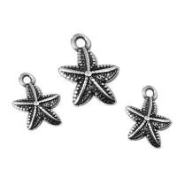 Colgante ZAMAK baño plata estrella de mar 12 mm