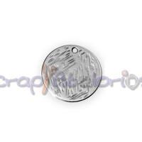 Colgante ZAMAK baño plata moneda rayada 15 mm
