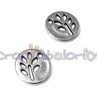Colgante ZAMAK baño plata moneda arbolito hojas 12 mm