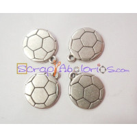 Colgante ZAMAK baño plata balon de futbol 23 mm