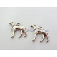 Colgante ZAMAK baño plata perro galgo 19x18 mm, int 2 mm