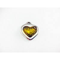 Colgante ZAMAK baño plata corazon relieve resina AMARILLO  17 mm
