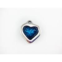 Colgante ZAMAK baño plata corazon relieve resina AZUL  17 mm