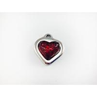 Colgante ZAMAK baño plata corazon relieve resina ROJO 17 mm