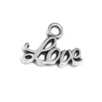 Colgante ZAMAK baño de plata palabra Love 12x6 mm