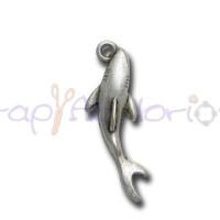 Colgante ZAMAK baño plata tiburon 25x6 mm