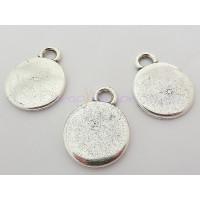 Colgante ZAMAK baño plata moneda lisa 19 mm.Grosor 2.2 mm
