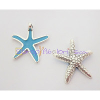 Colgante ZAMAK baño plata Estrella Mar mediana azul 27x28 mm