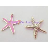 Colgante ZAMAK baño plata Estrella Mar mediana rosa 27x28 mm