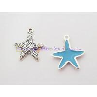 Colgante ZAMAK baño plata Estrella Mar pequeña azul 19 mm