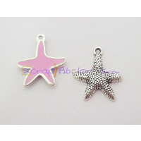 Colgante ZAMAK baño plata Estrella Mar pequeña rosa 19 mm
