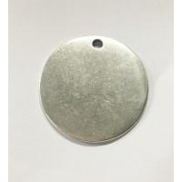 Colgante Zamak baño plata moneda lisa para grabar ... 40 mm.