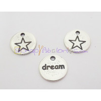 "Colgante ZAMAK baño plata moneda estrella  DREAM"""" 15 mm"
