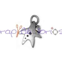 Colgante ZAMAK baño plata estrella de mar y corazon 23x17 mm