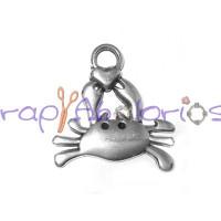 Colgante ZAMAK baño plata cangrejo  y corazon 25x25 mm