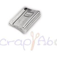 Colgante Zamak baño plata libreta 30x12 mm. Taladro 1.5  mm