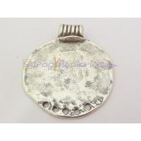 Colgante Zamak baño plata moneda medallon con aritos 58 mm