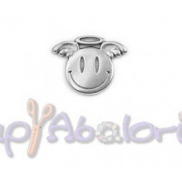 Colgante Zamak baño plata smile angel  19.4x15.2 mm.