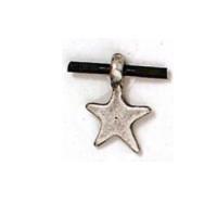 Colgante Zamak baño plata estrella punteada 19x13mm