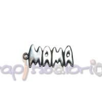 Colgante Zamak baño plata palabra mama pequeña 20x11 mm